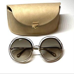 Chloe Carlina CE120S Sunglasses 58 Gold Gray 58mm